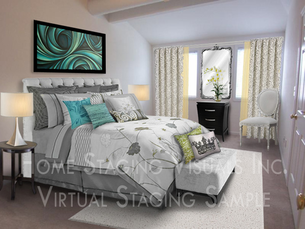 Virtual home staging service Master bedroom home staging